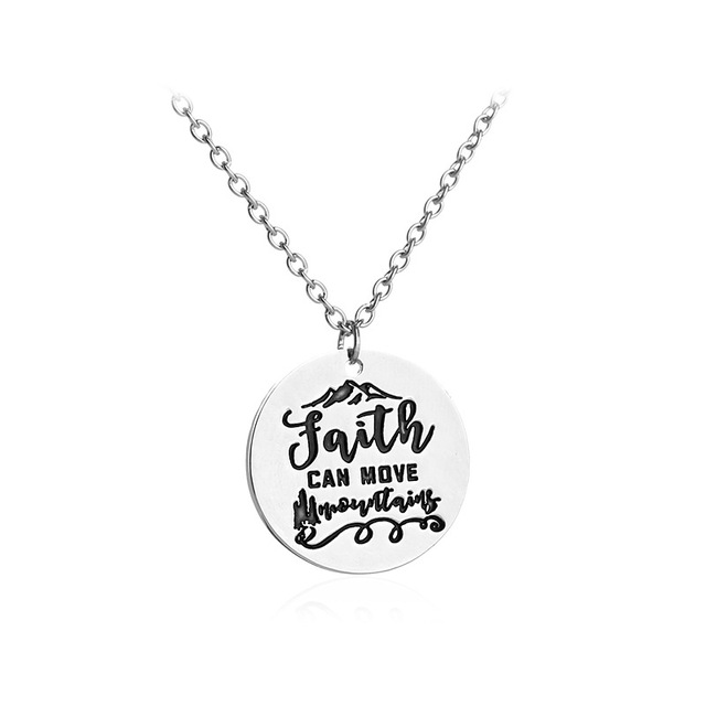 Sykesha 2018 Stylish Silver Round Disc Faith Can Move Pendant Necklace Lovers Friends Boys And Girls