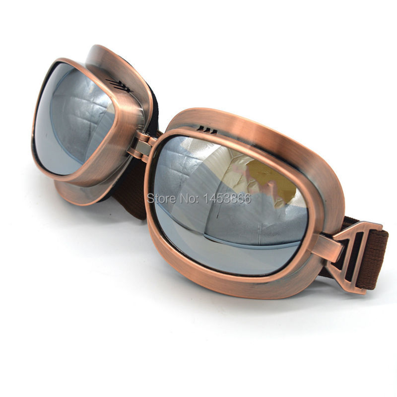Evomosa Motocross Helmet Goggles Glasses Silver Lens Vintage Copper Scooter Pilot Biker Copper For Cafe Racer Dirt Bike