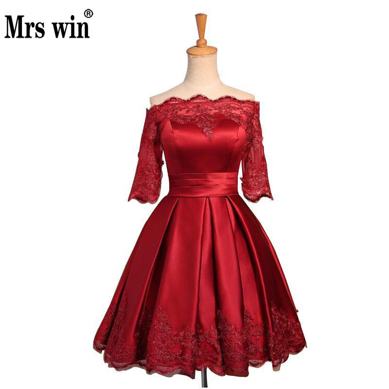 2018 New Arrival Boat Neck A-line Half Sleeve Lace Off The Shoulder Short Evening Dresses Wine Red New Bride Dress C