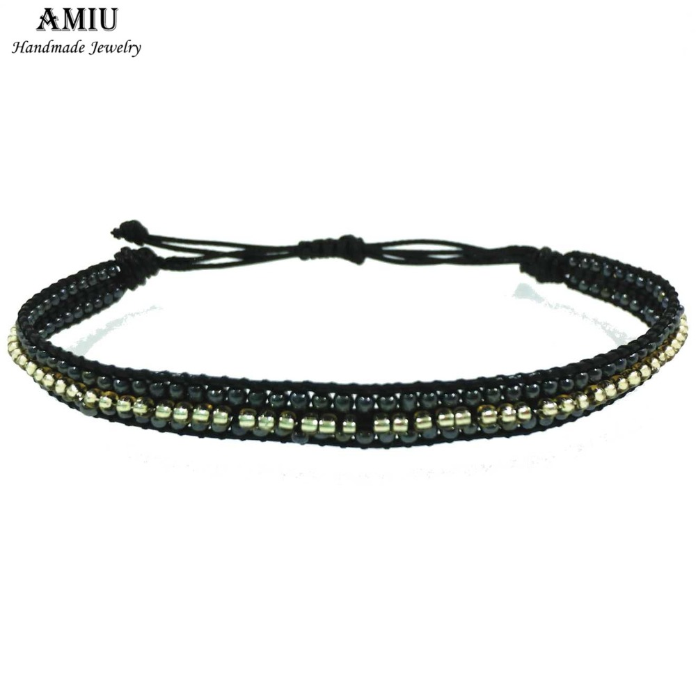 AMIU Handmade Seed Beads Hippy Boho Bohemia Wrap Bracelets For Women And Men Christmas Day Dropshipping 2019 Beach Bracelets