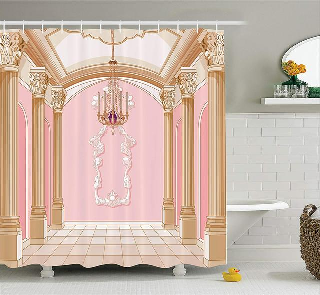 Mädchen Decor Dusche Vorhang, Innen Der Ballsaal Magic Castle Kronleuchter  Decke Spalten Königreich Druck Badezimmer Dekor