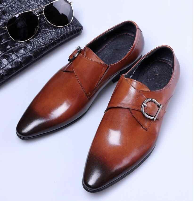 Новый Лидер продаж Мужские кожаные туфли мужские плоские Классические Мужские модельные туфли кожа Итальянский Формальное Оксфорд большой размер 38-47