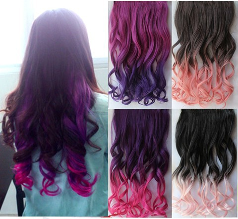 1pc/lot Hot new Gradient multi color synthetic curl 5 clip in hair ...