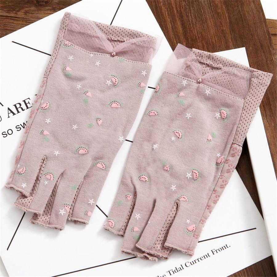 Women Half Finger Working Summer Sun Protection UV Cotton Gloves Female Student Summer Fingerless Driving Non-Slip 3-TBFS15