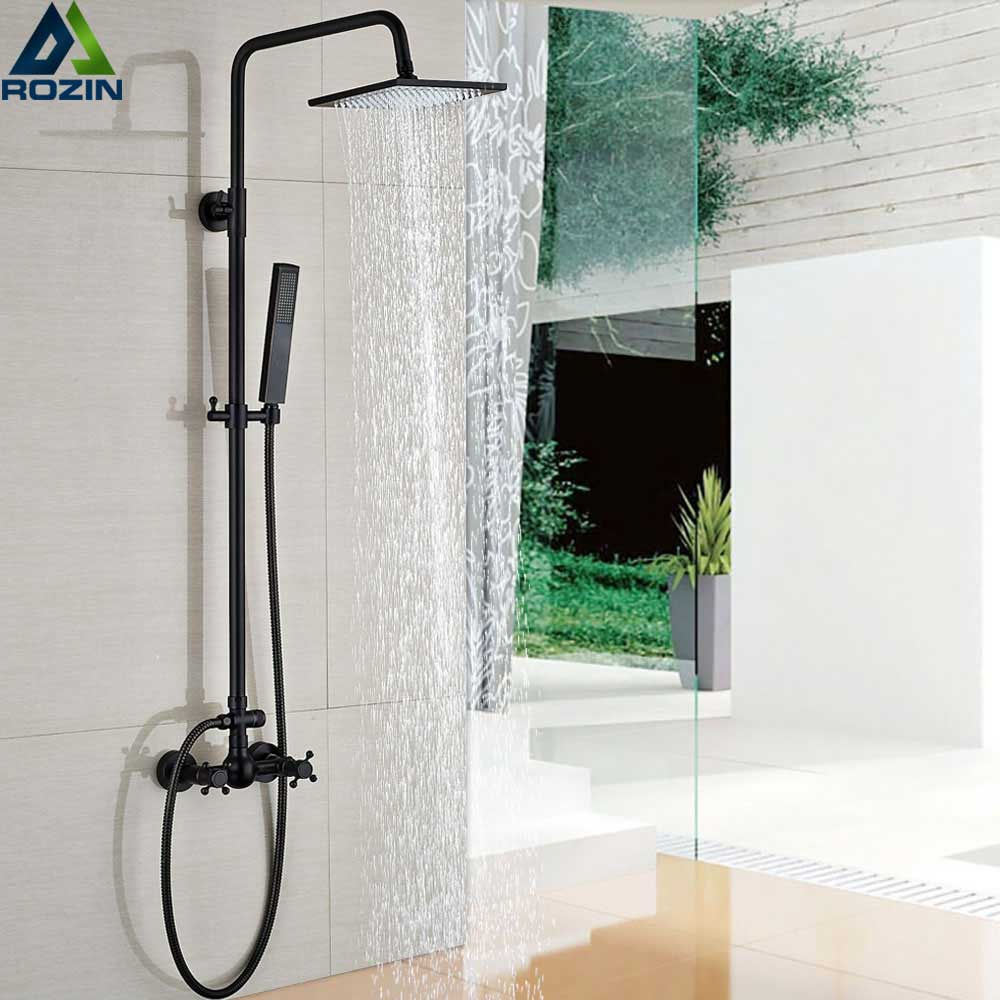 Bronze Black Shower Faucet Set Bathroom Shower Column 8 Rainfall Shower head and Hand Wall Mounted