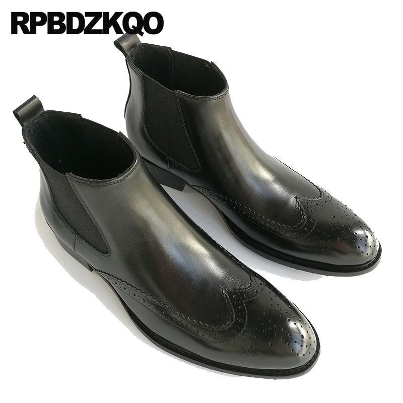 Chaussures en cuir véritable Oxford hommes bout pointu robe bottes cheville mariage Wingtip Chelsea Brogue noir haut bottillons Chunky