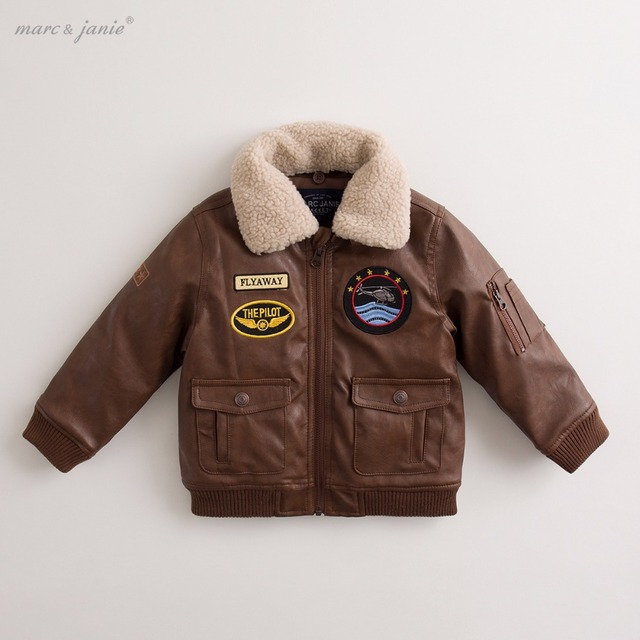 1f06a8d3b marc janie Baby Toddler Boys  Thicken Military Flight Leather Bomber ...
