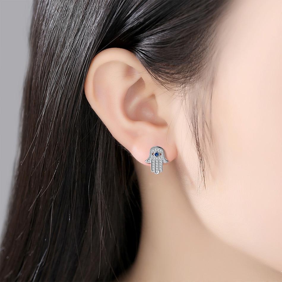 Women's 925 Sterling Silver Hamsa Hand Stud Earrings 1