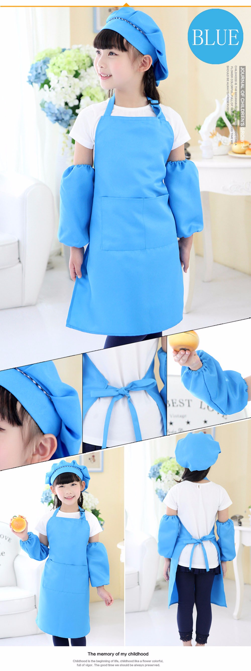 3Pcs/Set Children Aprons For Kitchen Painting Drawing Kindergarten ...