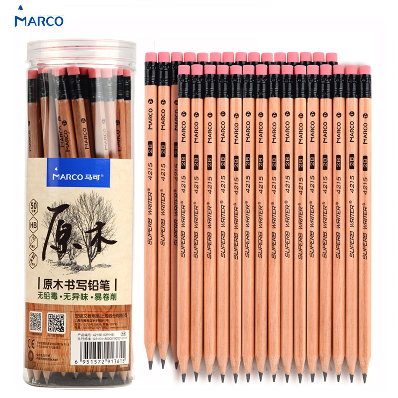 Marco HB 2B Pencils With Eraser Tops 30 50 Graphite Wood Pencil School Art Supplies For Kids & Adults Writing,Drawing Sketching 12pcs candy color cute pencil hb 2b school stationery store student kids triangle graphite drawing sketch wood pen office supply
