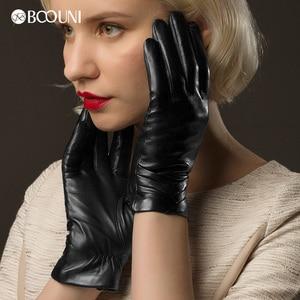 Image 3 - BOOUNI Guanti Femminile Guanti di Cuoio Genuino delle Donne di Inverno di Autunno Più Caldo Velluto Nero di Modo Guanto Di Pelle di Pecora NW705