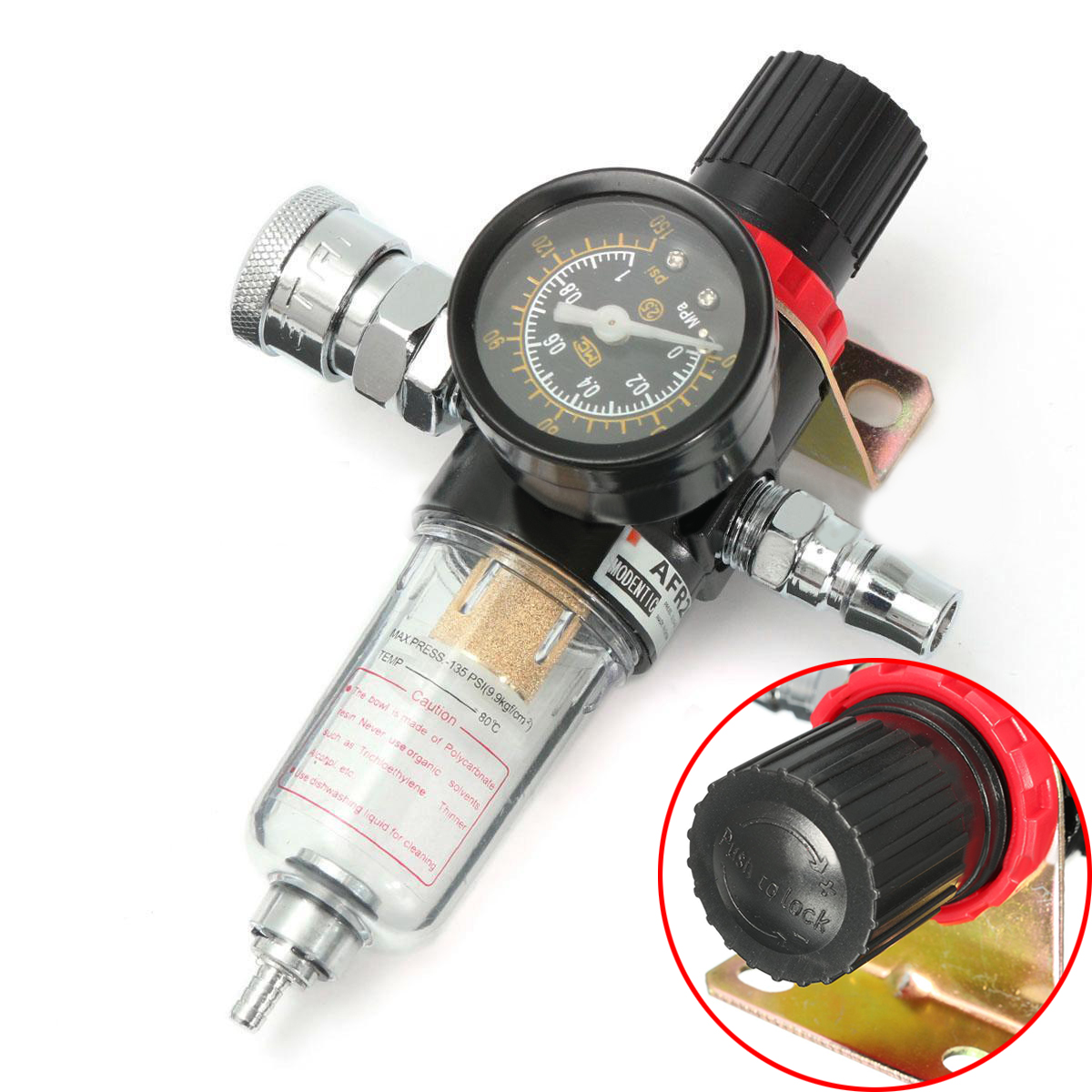 1/4 AFR2000 Air Compressor Oil Water Filter Regulator Pressure Gauge Moisture Trap with Fittings Mayitr air compressor o ring 1 2pt thread oil level sight glass