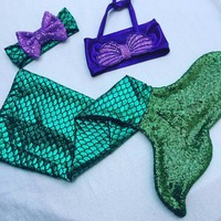 2017 New Arrival Fashion Kids Girls Clothes Swimmable Mermaid Tail Bikini Set Toddler Baby Girl Clothing