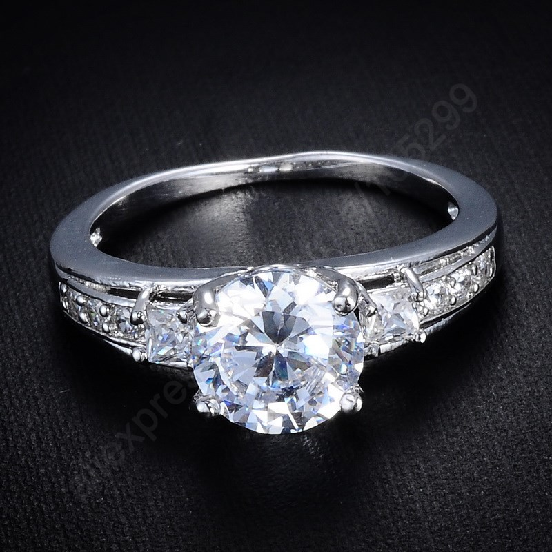 JEXXI Luxury Shining CZ Stone Rings Pure 925 Sterling Silver Jewelry Cubic Zirconia Ring Women Party Gift US Size 7.8.9-in Wedding Bands from ...