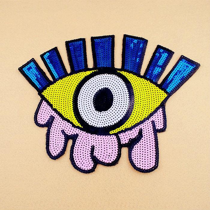 2st mycket mycket Stor storlek stor gul rosa blå vita öga Sequined - Konst, hantverk och sömnad