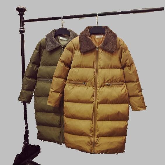 New Women Winter Coat Korean Fashion Medium long Down Jacket Lamb Fur Collar Large size Casual