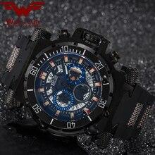 WOLF CUB Luxury Big Dial Mens Sports Watches 3BAR blue Dial Man Steel Chronograph Quartz Wrist Watch Military Relogio Masculino