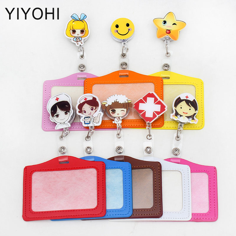 Lovely Cartoon Retractable Badge Reel Student Nurse Horizontal Type Exihibiton ID Name Card Badge Holder Office Supplies