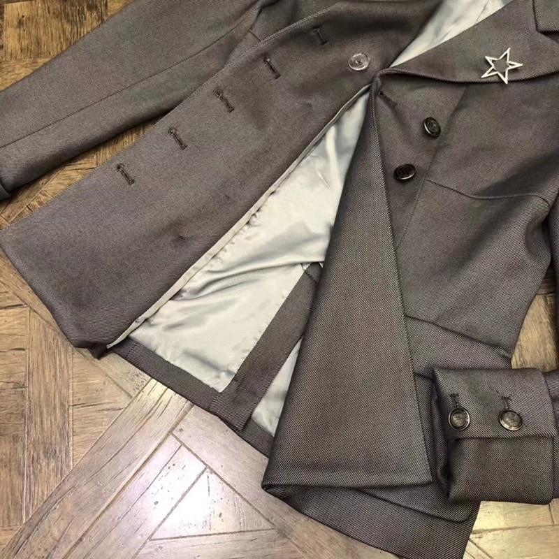 Manteau Mode Automne Poche Veste À Boutonnage Femmes Bleu ardoisé Féminine La Survêtement 2018 Courte Hiver Double 0qw5F5B