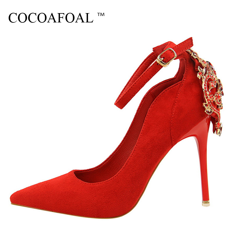 COCOAFOAL Woman Crystal Wedding High Heels Shoes Fashion Red Sexy Pumps Green Pink Pointed Toe Bridal Shoes Calzado Mujer 2018 лампы освещение