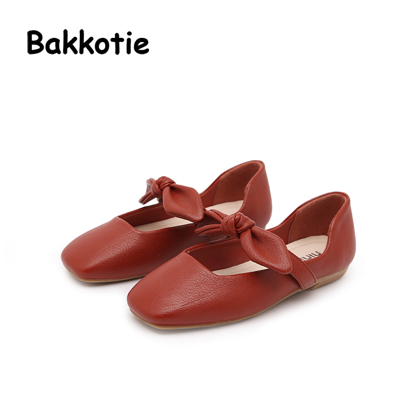 Bakkotie 2018 Spring Baby Girl New Fashion Pu Leather Square head Shoe Child Casual Princess Bow Flat kid Brand Sweet Mary Jane