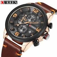 New 2018 Mens Watches Top Brand Luxury Leather Men Quartz Watch Casual Sport Clock Male Wristwatch