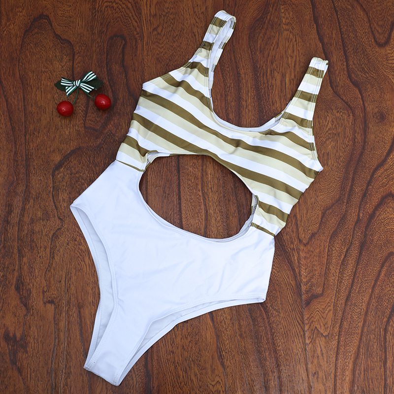2017 New Women One piece Hollow out Swimwear Striped Swimsuit Hollow Out Bathingsuit  Floral Monokini Big Hole in Waist Bikinis