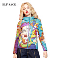 ELF SACK Hot Sale Women Winter Autumn Bomber Jacket Printed Jacket Women Fashion Streetwear Female Down Coats Women Basic Coat