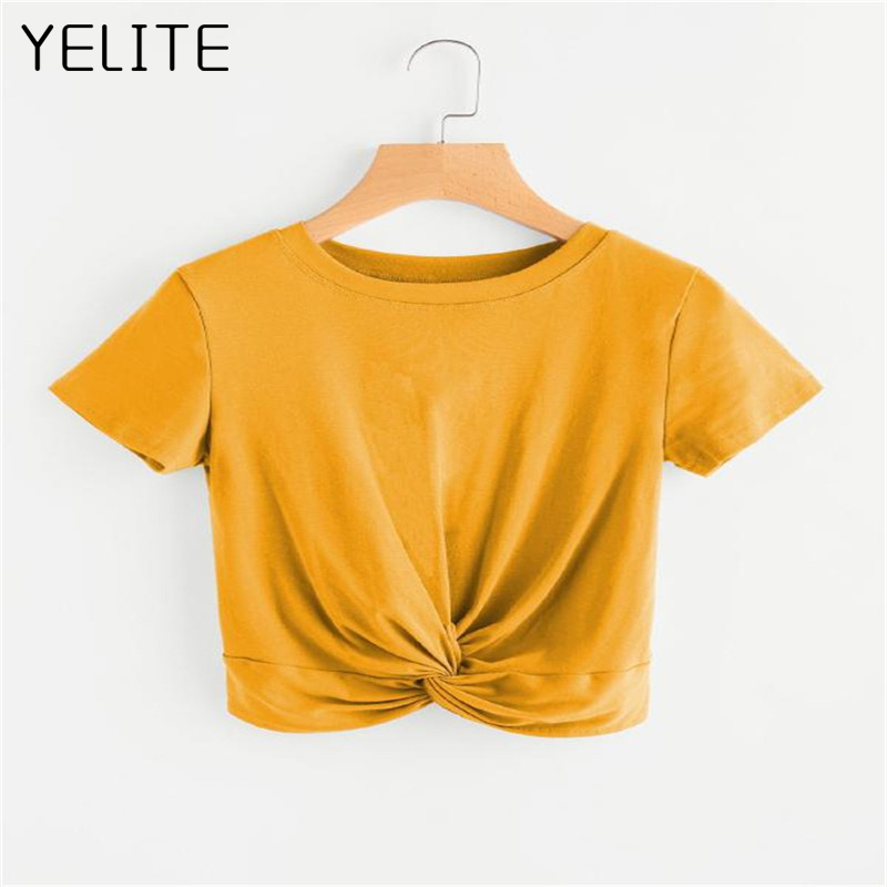 YELITE 2019 New cross-border new womens explosions solid color round neck short-sleeved casual knotted T-shirt female 5 colors