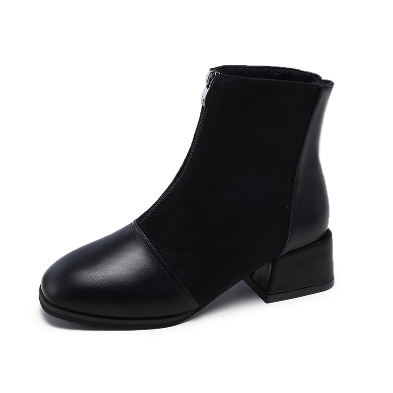 Front zipper booties female winter plus velvet 2018 new square head thick with bare boots thin boots retro Martin boots