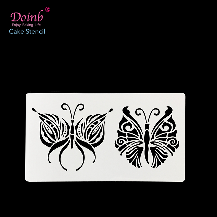 2kind Animal Butterfly Plastic Cake Stencil Mold Wall Painting Pad Cupcake Fondant Decoration Baking Tool Moulds FQ4085