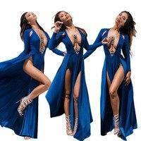 New Celebrity Kim Kardashian Deep V Neck Long Sleeve Split Prom Maxi Dress High Side Double