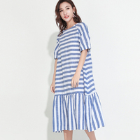 2017 Summer Spring New Fashion Striped Round Collar Flare Half Sleeve Mid Calf Bow Loose Dress