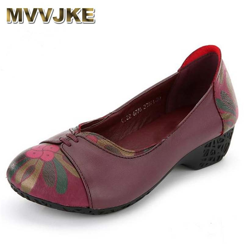 MVVJKE Spring and autumn Genuine leather comfortable women 's shoes Flats casual middle - aged non - slip shoes mom shoes obuv z flats new women s shoes in spring and summer 2017 will be able to make comfortable and sweet flat footed women s shoes