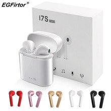 I7S Беспроводные Мини Bluetooth наушники-вкладыши музыкальные наушники стерео bluetooth-гарнитура с зарядным устройством гарнитура с микрофоном