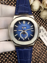 Marca de luxo Novo MoonPhase Relógios DayDate Automatic Men Mecânica Assista Sapphire Vidro Transparente Couro Preto Azul Branco