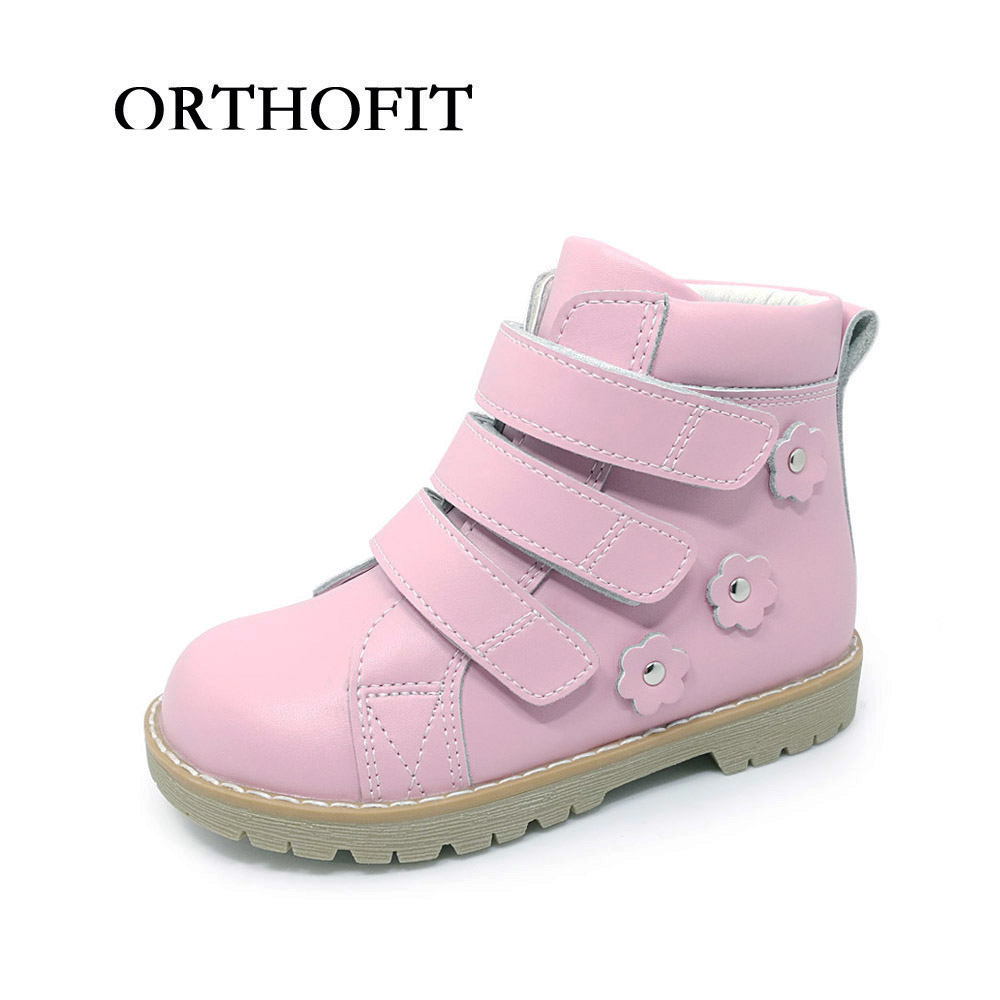 Fashion best selling kid girls flower decoration pink ankle shoes boots chidren leather orthopedic casual shoes flat feet boots