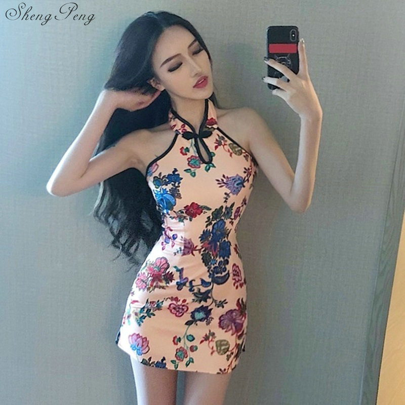 Summer Sexy Vintage Chinese Women's Silk Satin Cheongsam Halter Qipao Prom Flowers Dress V982