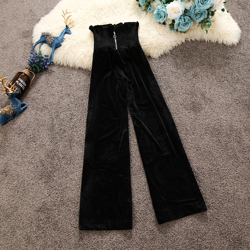 2019 spring new high-waist women pants wide leg pants solid loose elegant velour casual office lady zipper sexy pants