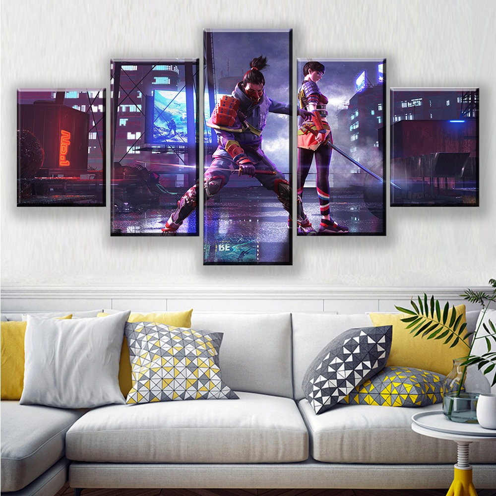 Garena Free Fire Game Poster Artwork Paintings 5 Piece Battlegrounds Video Games Wall Art