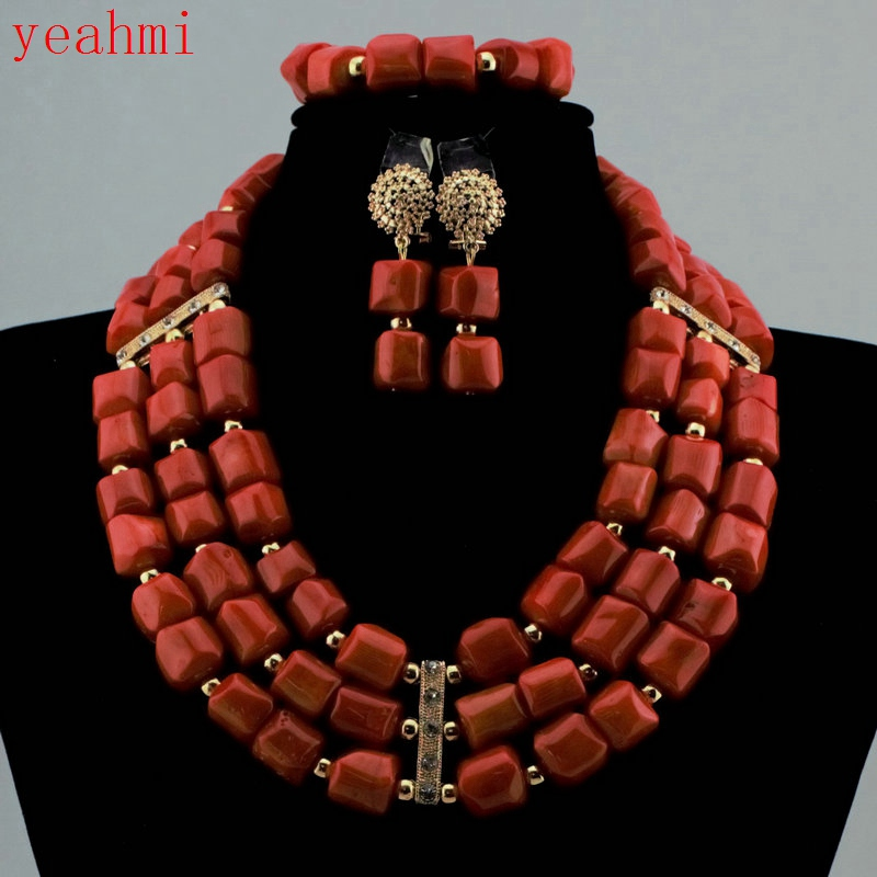 Luxury Coral Beads Bridal Jewelry Sets African Nigerian Wedding Beads for Women Jewelry Set Choker Necklace Free Shipping HD368Luxury Coral Beads Bridal Jewelry Sets African Nigerian Wedding Beads for Women Jewelry Set Choker Necklace Free Shipping HD368