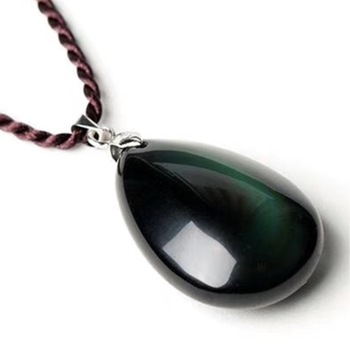 Natural Obsidian Water Drop Pendant with Rope Chain  Stone Pendant
