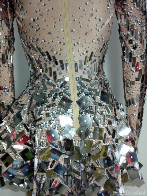 Silver sparkling Sequins rhinestones dress sexy female costumes Bright crystals singer dancer nightclub bar show DJ party groom