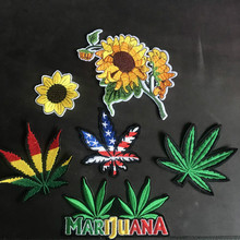 20Pcs/lot Embroidery Patches Hemp Leaf Letter Sunflower Clothing Accessories for Shoes Hats Sewing Wholesale