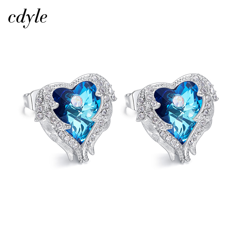 Cdyle Heart Stud Earrings For Women Crystals from Swarovski Earrings Luxury Blue Purple Fashion Jewelry Elegant Sexy