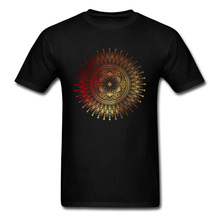 Tops Tees Red Gold Mandala Tshirt Men T-shirts Punk Style Design T Shirts Labor Day Latest Short Sleeve Cotton Camisa Cheap