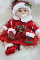 Silicone Rebron Baby Dolls 40cm Handmade Lifelike Doll Red Dress Children Gifts Girls Play House Brinquedos Christmas Decoration