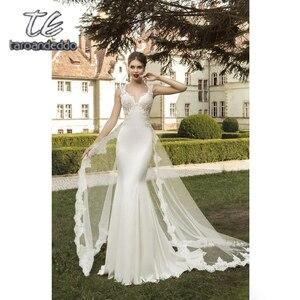 Image 3 - V Boyun Dantel Aplike düğün elbisesi Kolsuz Mermaid Saten Etek Backless Sweep Tren gelin kıyafeti Ayrılabilir Tren ile
