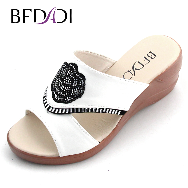 BFDADI 2016 New Summer Sandal Women Peep Toe Wedge Sandals With Rhinestone Flowers Shoes Woman Platform Sandals Big Size 8808
