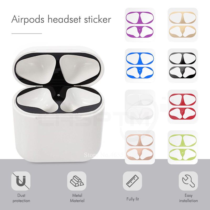 18K Gold Plated Dust Guard for AirPods Protection Sticker Dust-proof Film Decal Skin Protect For Air Pods Protector charging box gift for boyfriend on anniversary
